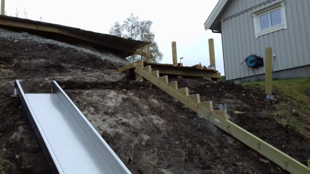trapp, terrasse, lekehus