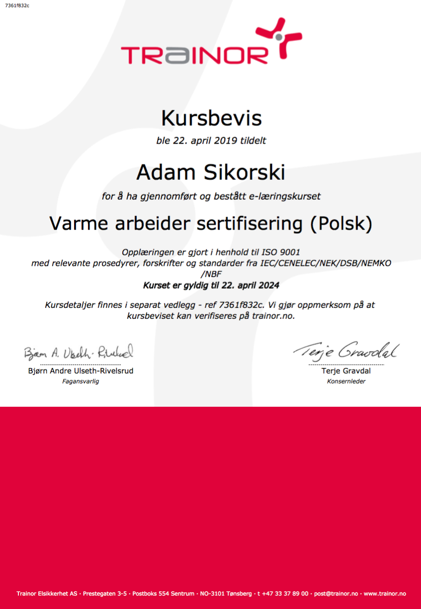 Varme arbeider sertifisering